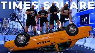 WORLD'S STRONGEST MEN TAKE OVER TIMES SQUARE