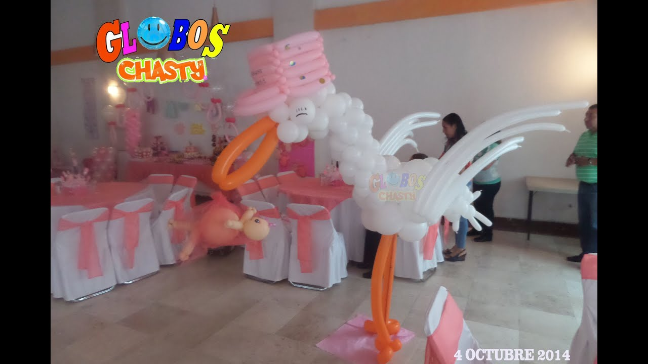 Decoracion baby shower con globos chasty youtube for Adornos para pieza de bebe