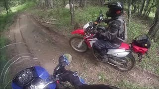 CRF250L & KLR650 Muddy Trail Ride (Meet-Up with Lost1Byte)