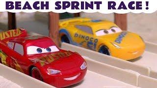 Disney Cars Toys McQueen Beach Sprint Race with Hot Wheels Superhero Vehicle Cars TT4U
