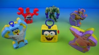 2015 THE SPONGEBOB MOVIE SPONGE OUT OF WATER SET OF 6 McDONALD'S HAPPY MEAL KID'S TOY'S VIDEO REVIEW