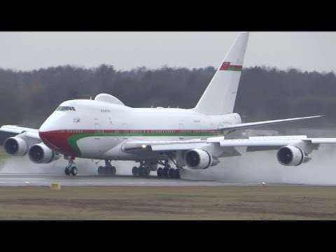 Boeing 747SP landing Hamburg Airport Oman Royal Flight A4O-SO