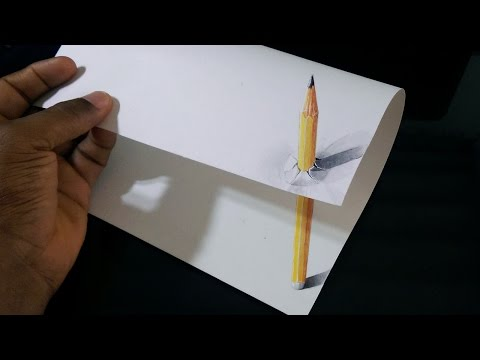 Drawing a 3D Pencil Through a Sheet - Great Optical Illusion