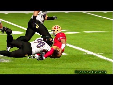 Great Sack By Suggs On Kaepernick - Ravens vs 49ers - Madden 13 - HD