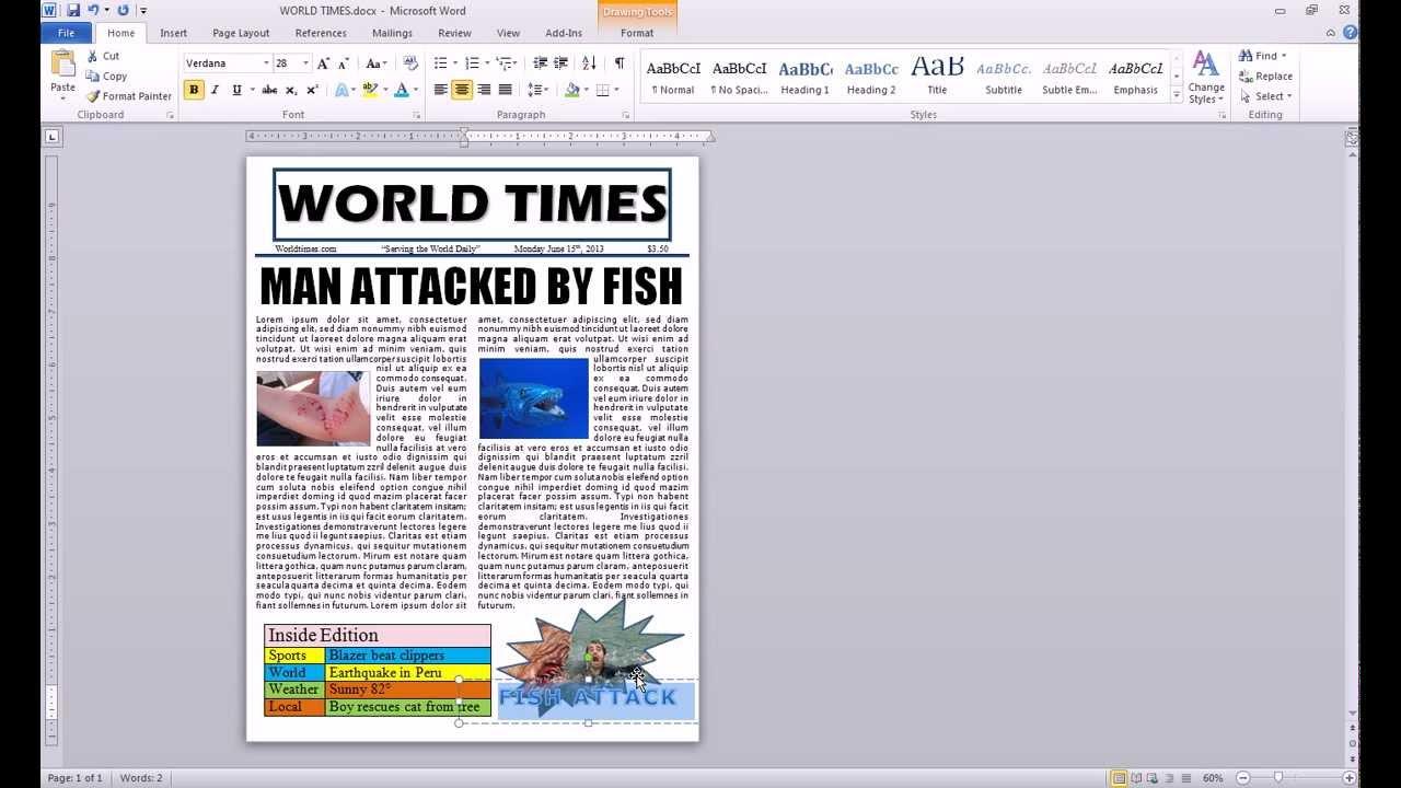 newspaper template microsoft word 2010 .