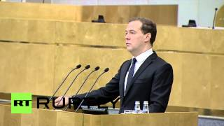video Russian Prime Minister Dmitri Medvedev stated in Moscow, Tuesday, that foreign pressure on Russia's economy was due to the