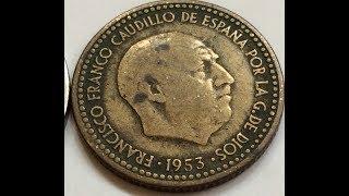 Rare 1953 UNA PESETA and 1957  5 PTAS Spanish Old Coin Collection Редкие Монеты Испании Euro Coin