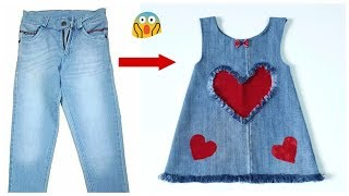 Fast conversion of old jeans into a stylish baby dress with all simplicity
