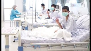 Thai boys wave to world from hospital in first video since rescue