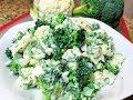 САЛАТ ИЗ БРОККОЛИ И ЦВЕТНОЙ КАПУСТЫ.  Мой любимый салат. Broccoli and Cauliflower Salad
