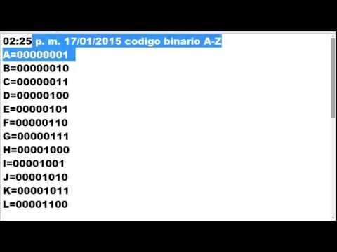 Los Codigos Binarios de las letras A - Z