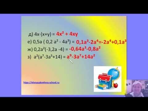 Видеоурок алгебры за 7 класс - Одночлены - видео