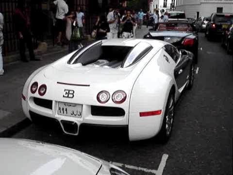 White Chrome Bugatti Veyron and Porsche Panamera in London - Arab Owned