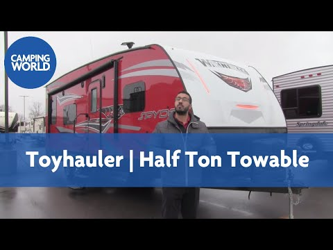2017 Winnebago Spyder 24FQ    Toy Hauler   Travel Trailer   Red   Black Widow   - RV Review