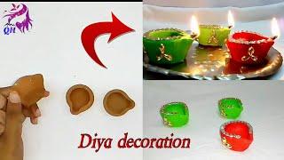 Diwali Diya decoration|| Diwali decoration idea|| Queen's home|| Diya painting