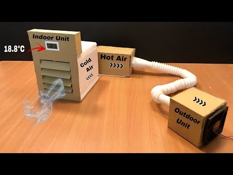 How to make Peltier Air Conditioner with a Indoor and Outdoor Unit at Home || Without Using Ice 2019