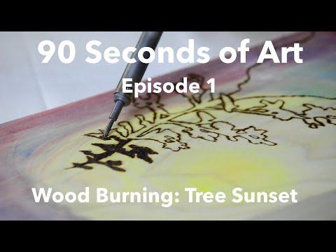 Burnt Wood: Tree Sunset Art