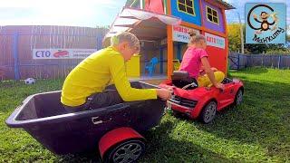 Дети и Машина. Диана и Даня играют с машинками игрушками Play-Doh. МанкиТайм