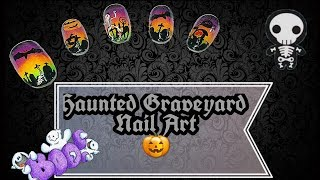 Haunted Graveyard Nail Art: easy Halloween gradient & stamping