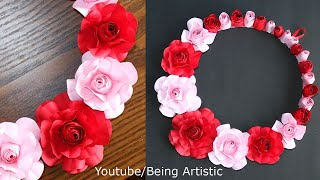Paper Flower Wall Decoration Idea - Paper Craft - DIY Flower