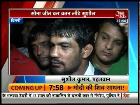 Gold-winners Sushil Kumar, Yogeshwar get warm welcome