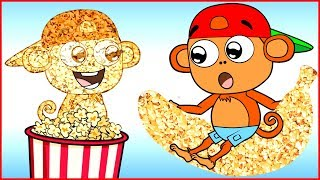 Funny Monkey Family Teaching with Popcorn 😊