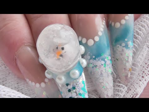HOW TO MAKE A GEL SNOW GLOBE (with snowman) FOR NAILS   ABSOLUTE NAILS - GEL TUESDAYS