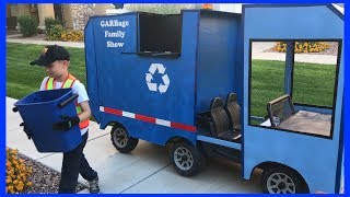 'Roman the Recycle Kid'' Drives His Recycling Truck On Halloween | Fun Video For Children