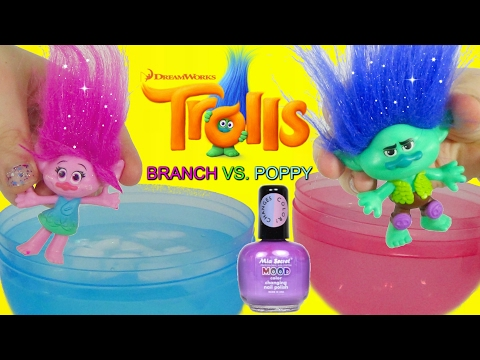 DREAMWOKS TROLLS MOVIE 2016 Poppy & Branch Color Changing NAIL POLISH DIY Toys