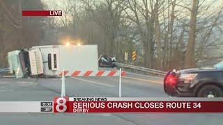 Serious crash closes Route 34 near Derby, Seymour town line