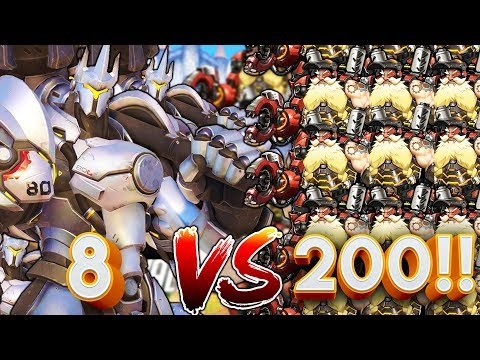 8 REINHARDTS VS 200 TORBJORNS!? OVERWATCH CUSTOM GAMEMODE!