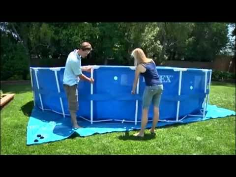 New pool set up and review intex pool 16x48 summer 2013 for Summer waves above ground pool review