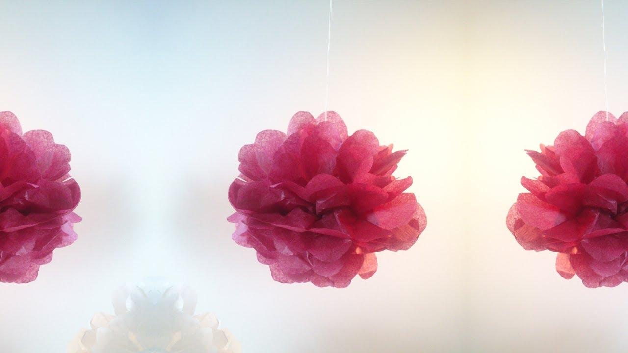 Hd tuto faire un pompon en papier de soie make a - Bricolage a faire en papier ...