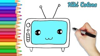 How to Color Cute TV Part 2 | Teach Drawing for Kids and Toddlers Coloring Page Video