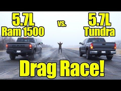 Ram 1500 5.7L HEMI vs Toyota Tundra 5.7L Drag Race! This was a close one!