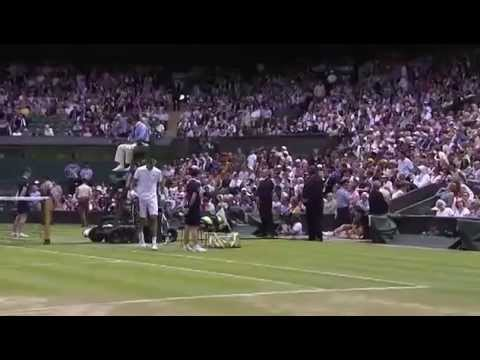 Rosol knocks over Rafa Nadal's bottle - Wimbledon 2014