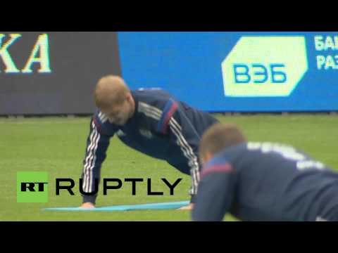 Russia: National football team train, watched by Sports Minister Mutko