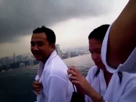 Marina Bay Sands Hotel Infinity Pool Singapore,swimming time with Mario of Philippines