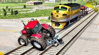 Stuck at rails (train railroad crossing crashes) #2 BeamNG.Drive
