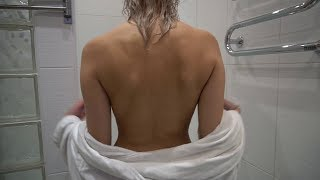 Fully naked super sexy girl taking shower before Halloween night