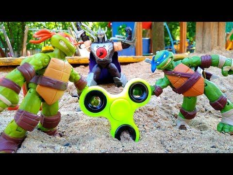 Супер #ЧерепашкиНиндзя защищают #Спиннер ߷ от Шредера! Игры для детей Видео игрушки для мальчиков