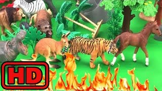 Kid -Kids -Fire In The Jungle/Lot Of Animal Toys Escaping FIRE/ Fire Truck Comes to The Rescue/Bugs