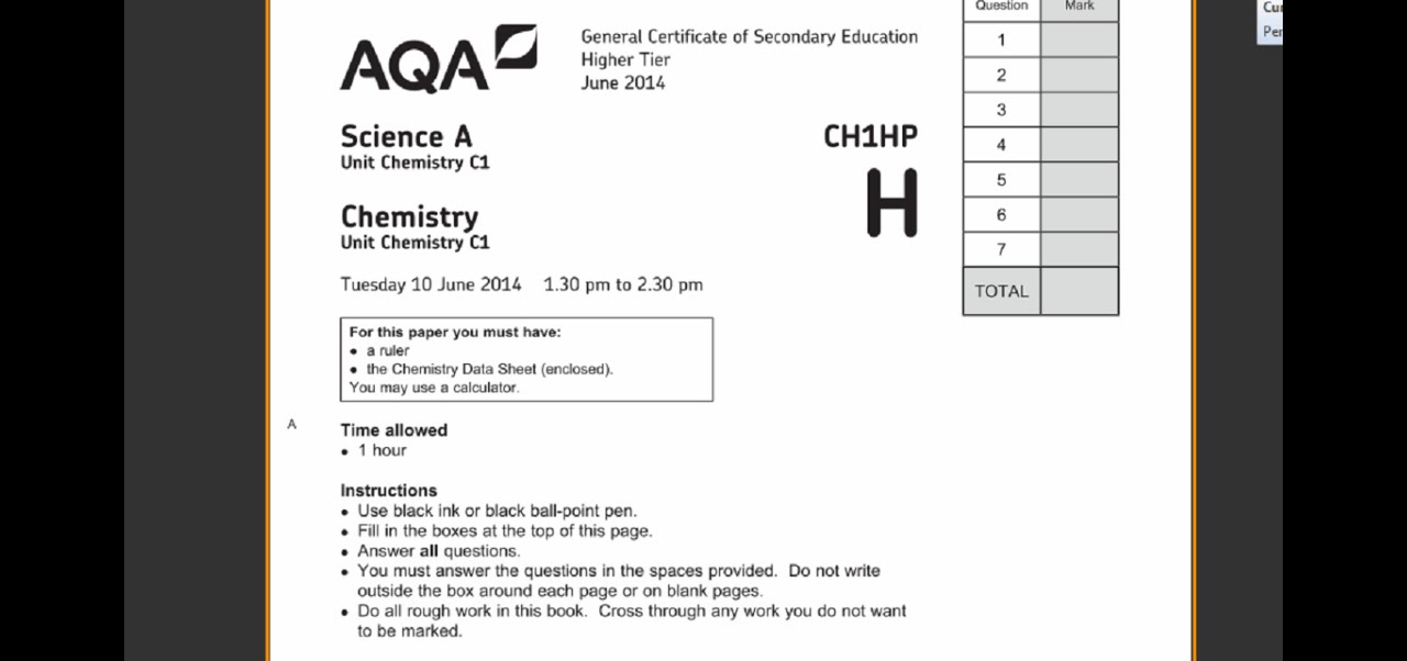 Aqa biology past papers igcse