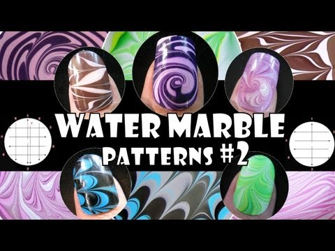 WATER MARBLE PATTERNS #2   HOW TO BASICS   NAIL ART DESIGN TUTORIAL BEGINNER EASY SIMPLE