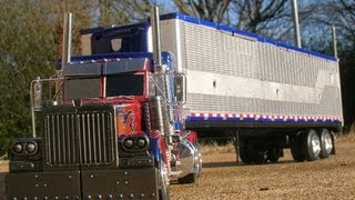 Custom Transformers Ultimate Optimus Prime with Trailer and Upgrade Parts ROTF DOTM