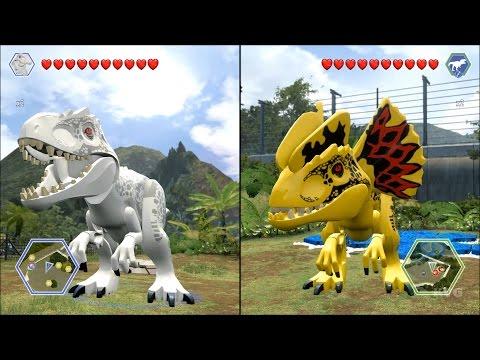 LEGO Jurassic World - Indominus Rex vs Custom Indominus Rex - CoOp Fight   Free Roam Gameplay [HD]