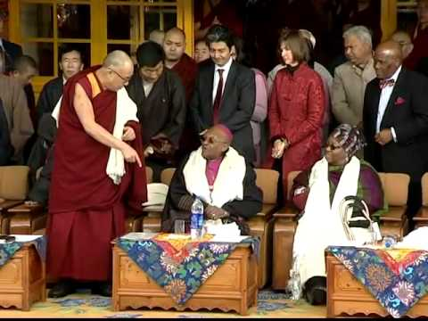 Dalai Lama celebrates Archbishop Tutu's 80th Birthday in India.