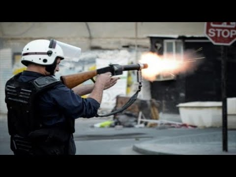 Bahrain This is How Mercenaries Riot Police Fire Directly At Protesters
