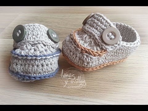 Tutorial Mocasines Bebé Crochet Baby Moccasins (English subtitles)