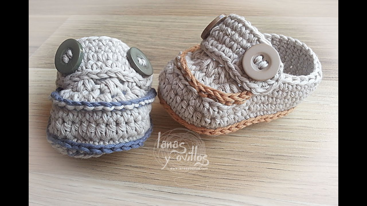 Youtubecroche : ... BebE Crochet o Ganchillo Baby Moccasins (English subtitles) - YouTube